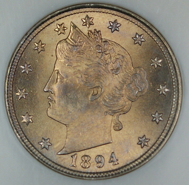 1894 Liberty Nickel Coin, NGC MS-66, Near Full Strike