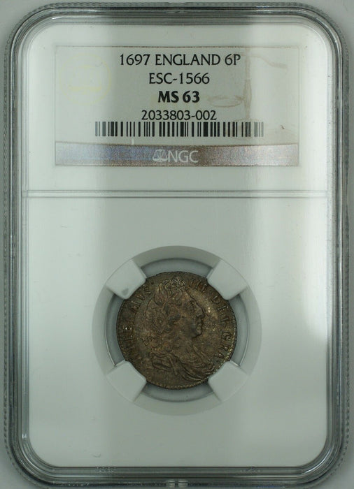 1697 England 6p Six Pence Silver Coin ESC-1566 William III NGC MS-63 AKR