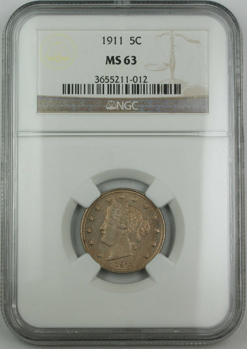 "1911 Liberty ""V"" Nickel 5c, NGC MS-63 *Full Strike*"