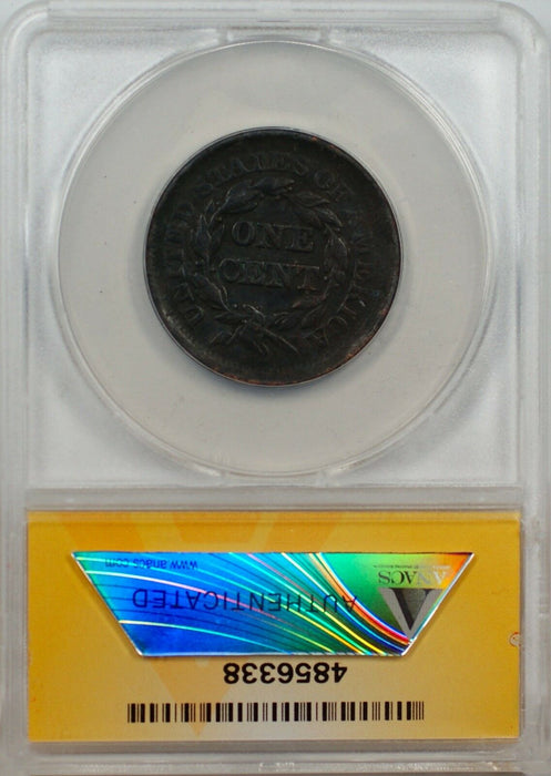 1852 Large Cent 1c Coin ANACS EF 40 Details Corroded (B)