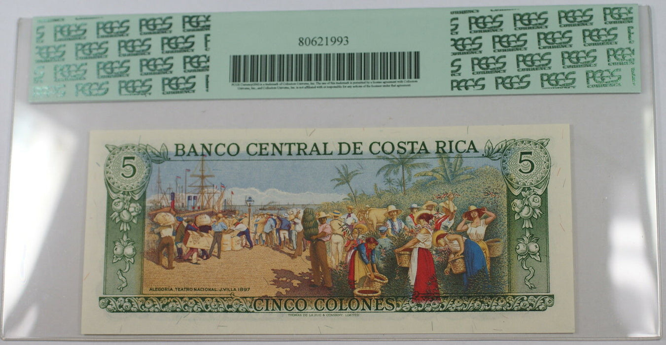 1977-89 Costa Rica Banco Central 5 Colones Note SCWPM# 236d PCGS PPQ 65 Gem New