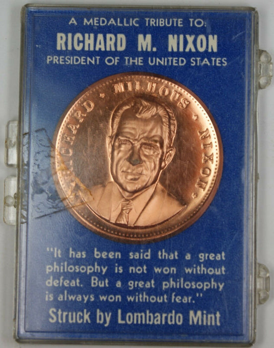Richard Nixon Proof Lombardo Mint Bronze Medal with Quote and in Blue Case