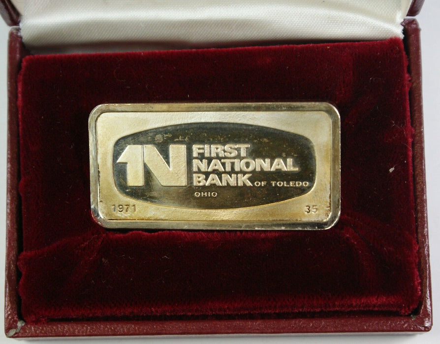 1000 Grain Sterling Silver Ingot, 1st National Bank of Toledo Ohio