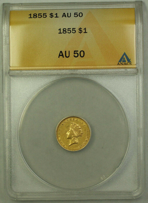 1855 Indian Princess Head Gold Dollar $1 Type II ANACS AU-50