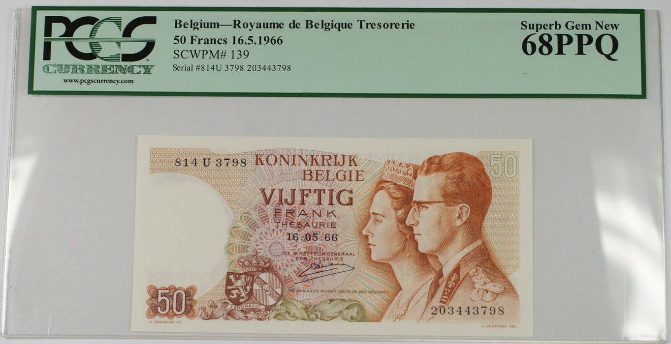 16.5.1966 Belgium 50 Francs Note SCWPM# 139 PCGS 68 PPQ Superb Gem New