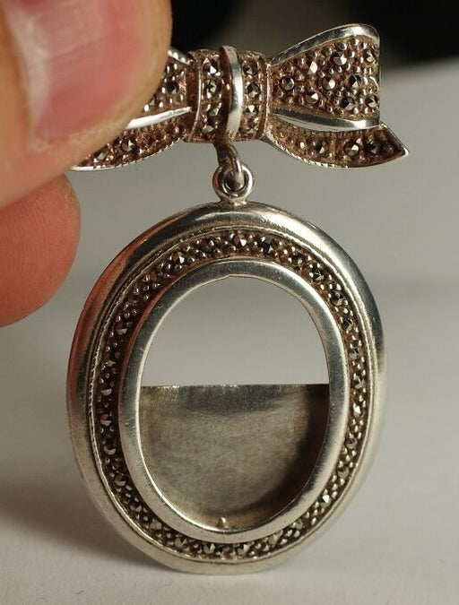 Sterling Silver Marcasite Antique Pendant Bow and Oval Design - Handmade