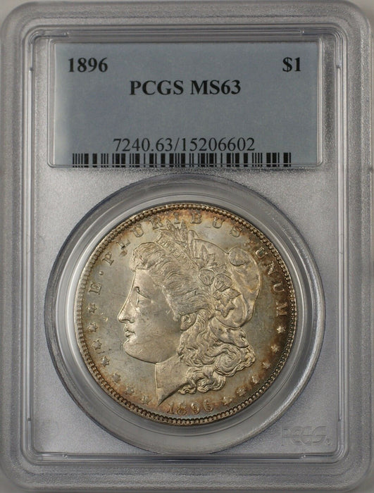 1896 Morgan Silver Dollar $1 Coin PCGS MS-63 Lightly Toned Semi PL (BR-23C)
