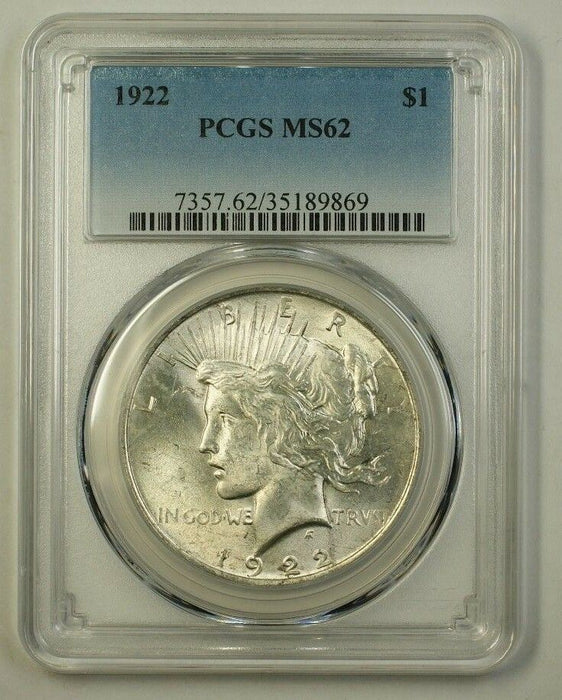 1922 Peace Silver Dollar $1 Coin PCGS MS-62 (Better) (H) (18)