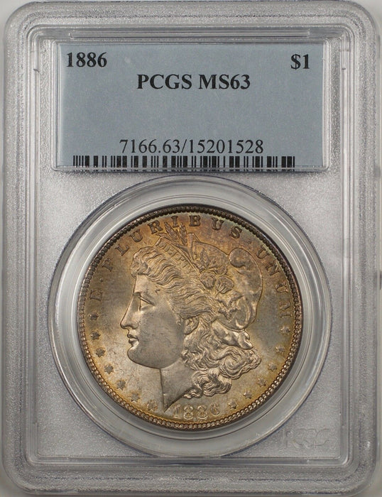 1886 Morgan Silver Dollar $1 Coin PCGS MS-63 Toning Better Coin (BR-19 N)