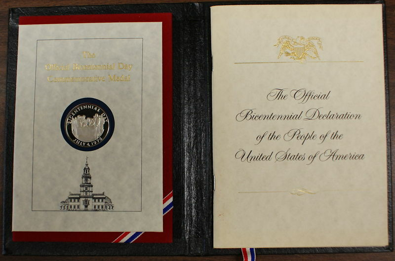 1976 Official Bicentennial Day Commemorative Silver Medal and Signature Book