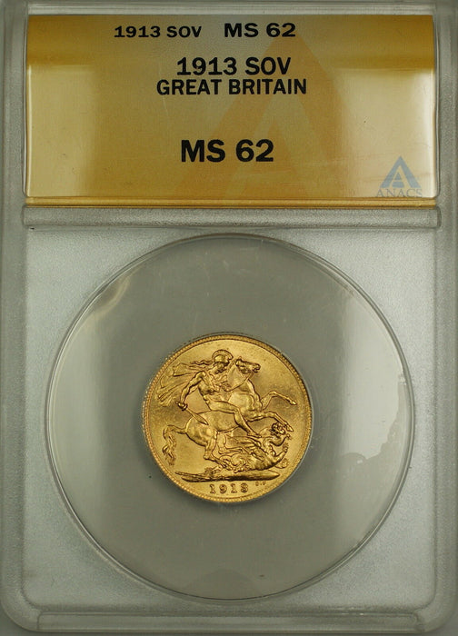 1913 Great Britain Gold Sovereign ANACS MS-62 (Better Coin) *Lustrous*