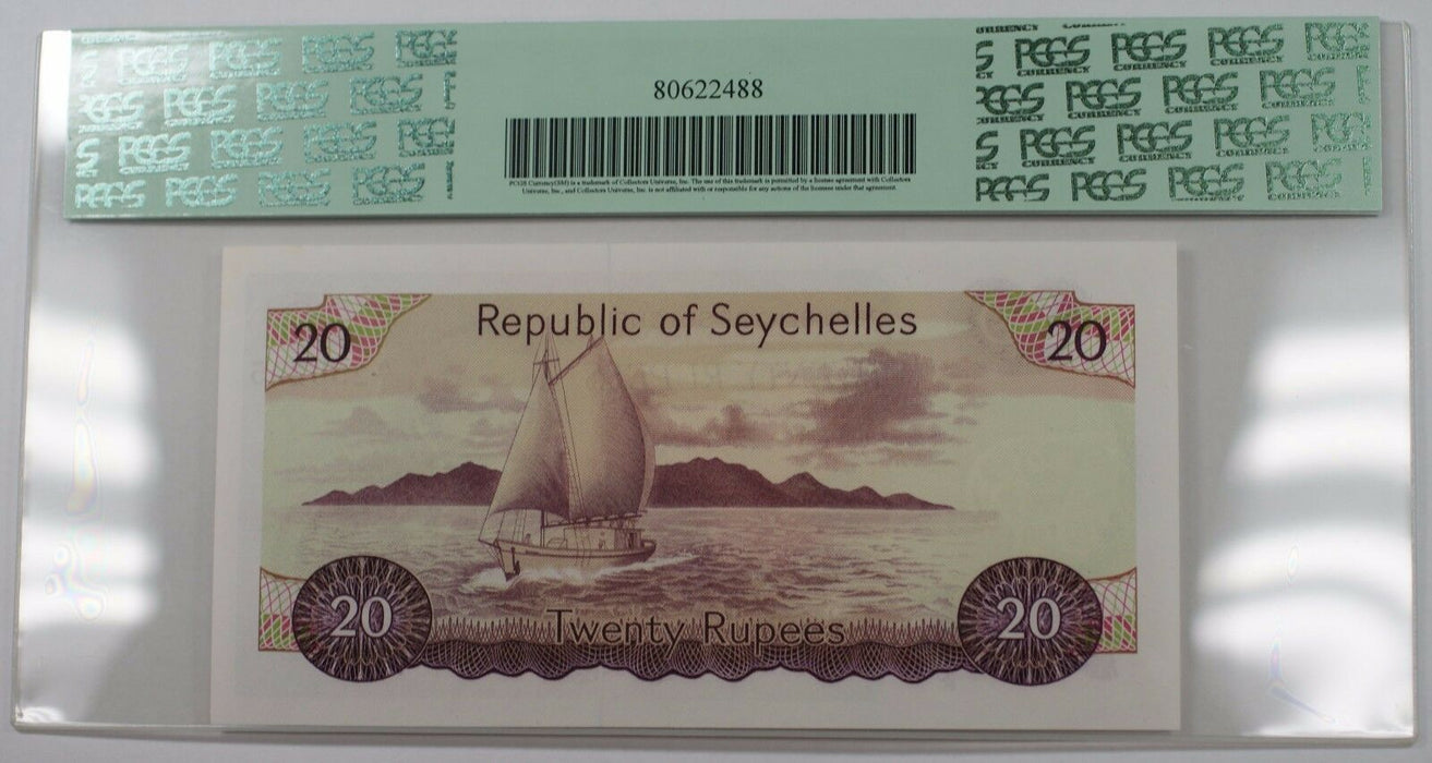 (1977) Republic of Seychelles 20 Rupees Note SCWPM# 20a PCGS 66 PPQ Gem New