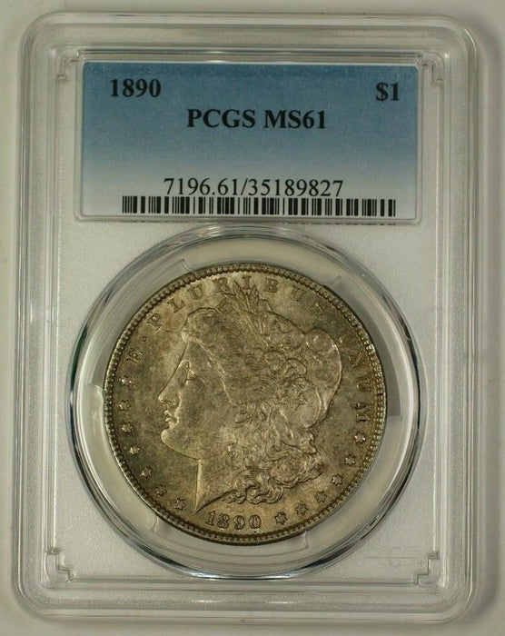 1890 US Morgan Silver Dollar Coin $1 PCGS MS-61 Toned (C) (18)
