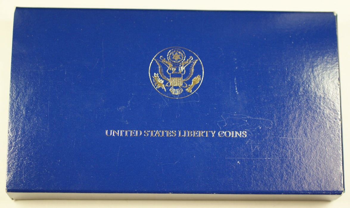 1986 US Mint Liberty Commemorative 3 Coin Silver & Gold Proof Set as Issued DGH
