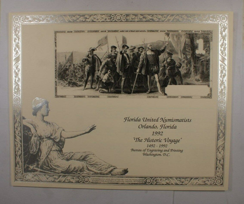 "1992 BEP B 153 Souvenir Card FUN 1862 ""The Historic Voyage"" Christopher Columbus"