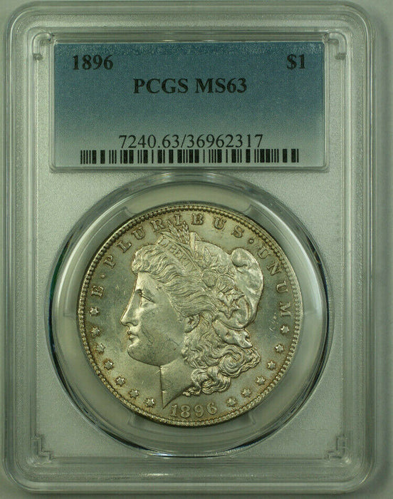 1896 Morgan Silver Dollar $1 Coin PCGS MS-63 Toned Reverse (21)