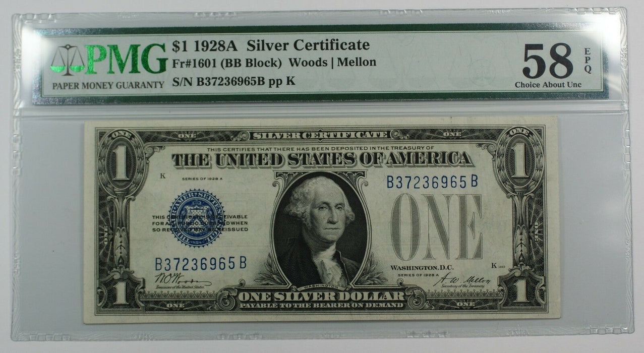1928A One Dollar $1 Silver Certificate FR# 1601 BB Block PMG 58 Choice AU EPQ WW