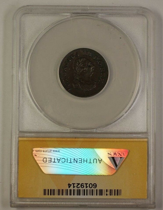 1806 Ireland Farthing Bronze Coin ANACS AU-53 Details Damaged Cleaned
