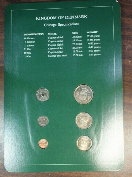 Coin Sets of All Nations Kingdom of Denmark UNC 6 Coins BU