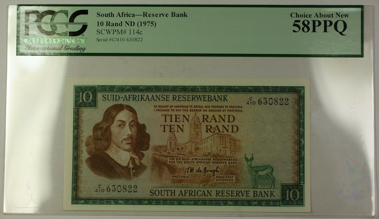 (1975) No Date South Africa 10 Rand Bank Note SCWPM# 114c PCGS Choice 58 PPQ (i)