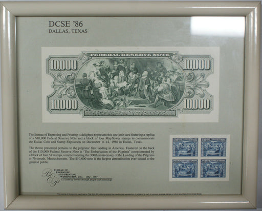 "Framed DCSE Souvenir Card 1986 BEP B 100 $10,000 ""Embarkation of Pilgrims"" Note"
