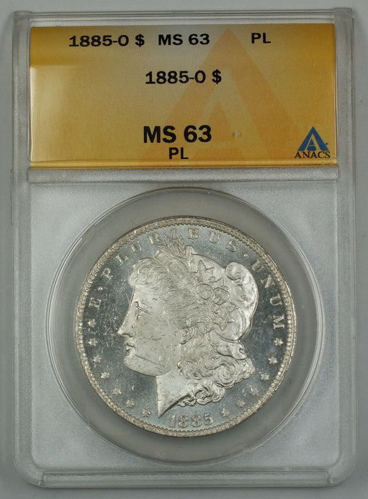 1885-O Morgan Silver Dollar Coin $1 ANACS MS-63 PL Proof-Like