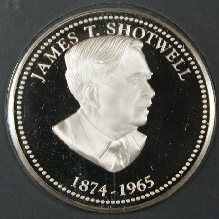 James T. Shotwell Proof Silver Medal, By The Franklin Mint Sterling Silver Medal