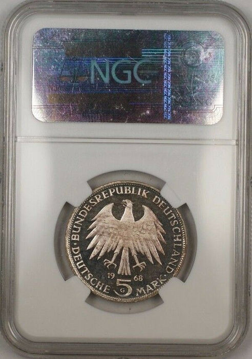1968-G Germany 5M Johannes Gutenberg Silver Proof Coin NGC PF-65 Ultra Cameo JA