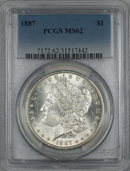 1887 Morgan Silver Dollar $1 PCGS MS-62 (Better Coin) (3C)
