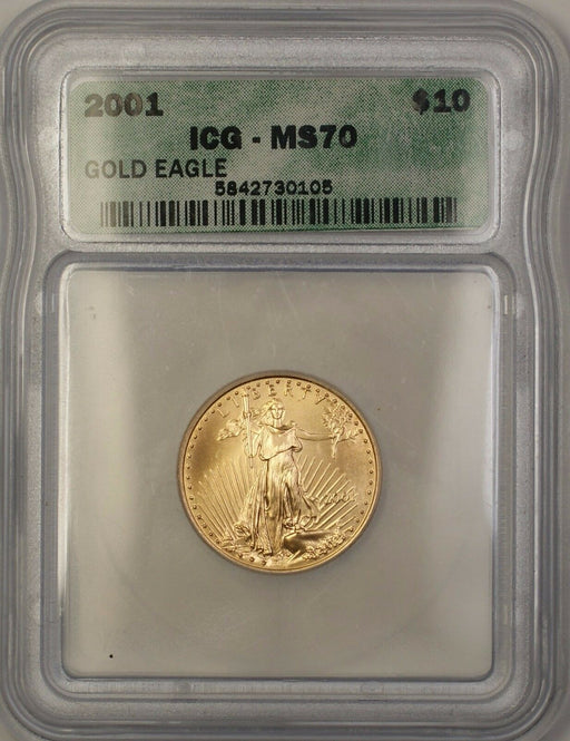 2001 $10 Dollar American Gold Eagle Coin AGE 1/4 Oz ICG MS-70 Perfect GEM