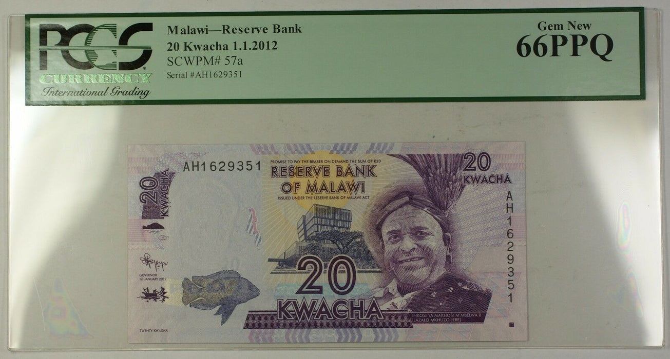 1.1.2012 Malawi 20 Kwacha Reserve Bank Note SCWPM# 57a PCGS GEM New 66 PPQ