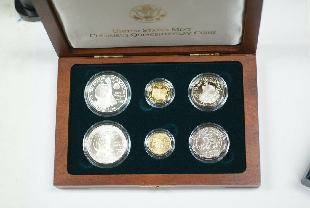 1992 Columbus Quincentenary Six Coin Silver & Gold Set 3 Proof 3 UNC In OGP JAH