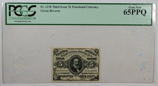 Fr. 1238 Third Issue 5c Fractional Currency PCGS Gem New 65PPQ Green Reserve