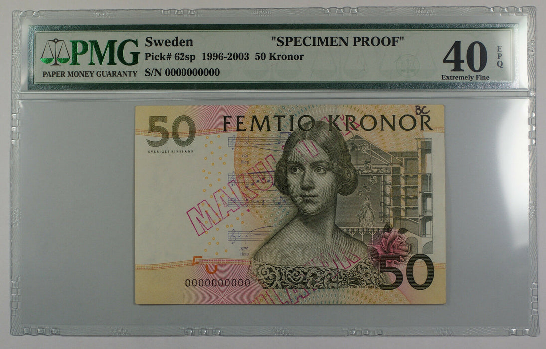 1996-2003 Sweden 50 Kronor Note Pick #62sp PMG 40 Ext Fine EPQ Details Better
