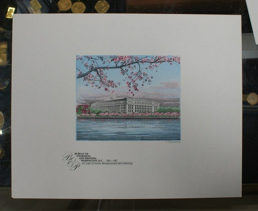 BEP souvenir card B 101 cherry blossoms and BEP building