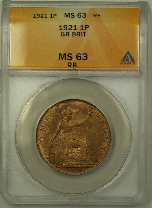 1921 Great Britain 1 Penny Coin King George V ANACS MS 63 Red Brown