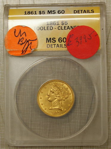 1861 $5 Liberty Half Eagle Gold Coin ANACS MS-60 BU UNC Details