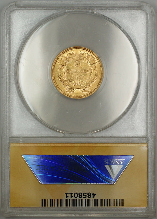 1854 $3 Three Dollar Gold Coin ANACS AU-50 Details Scratched SB