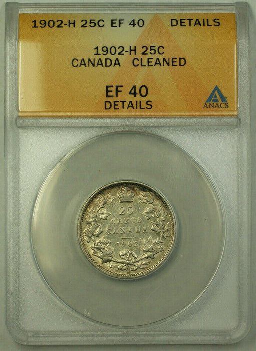 1902-H Canada Quarter 25 Cents Silver Coin ANACS EF-40 Details