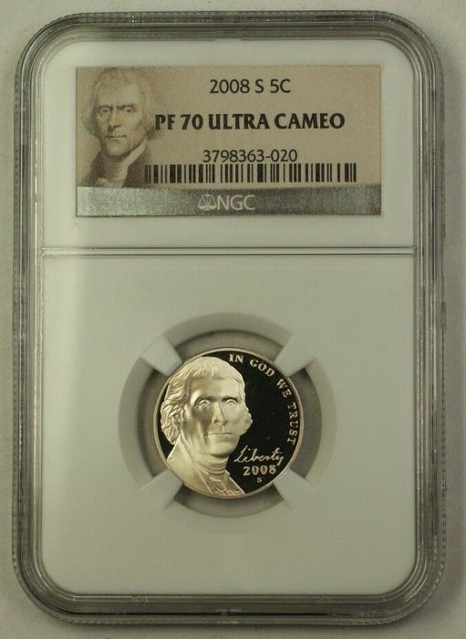 2008-S US Jefferson Nickel 5c Proof Coin NGC PR-70 Ultra Cameo