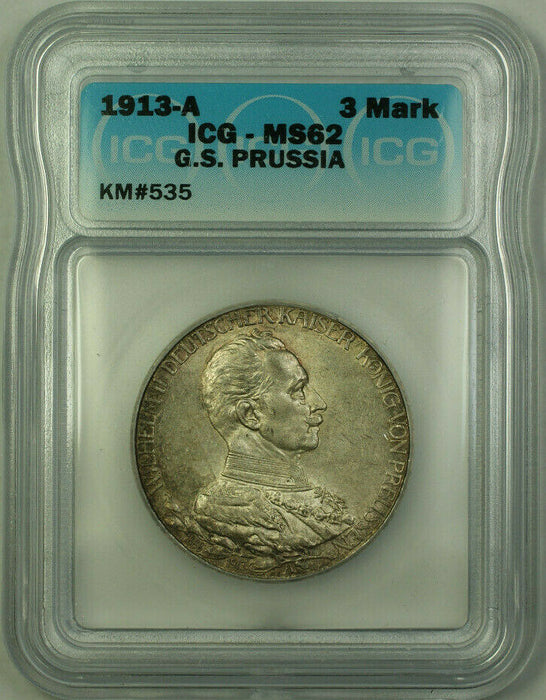 1913-A G.S. Prussia Silver 3 Mark Toned ICG MS-62 KM#535