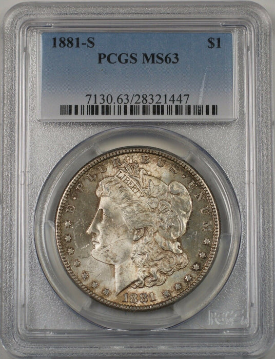 1881-S US Morgan Silver Dollar $1 Coin PCGS MS-63 Toned (BR-13 J)