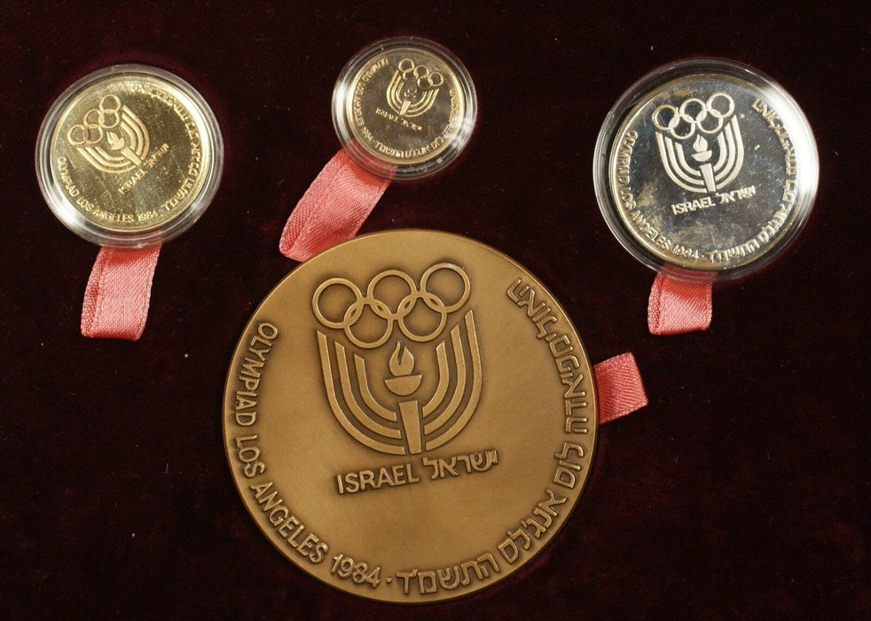1984 Israel LA Olympics 4 Pc Gold, Silver & Bronze State Medal Set w/ Case & COA