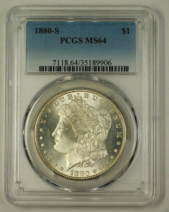 1880-S Morgan Silver Dollar Coin PCGS MS-64 Very Choice (B) (Better) (18)