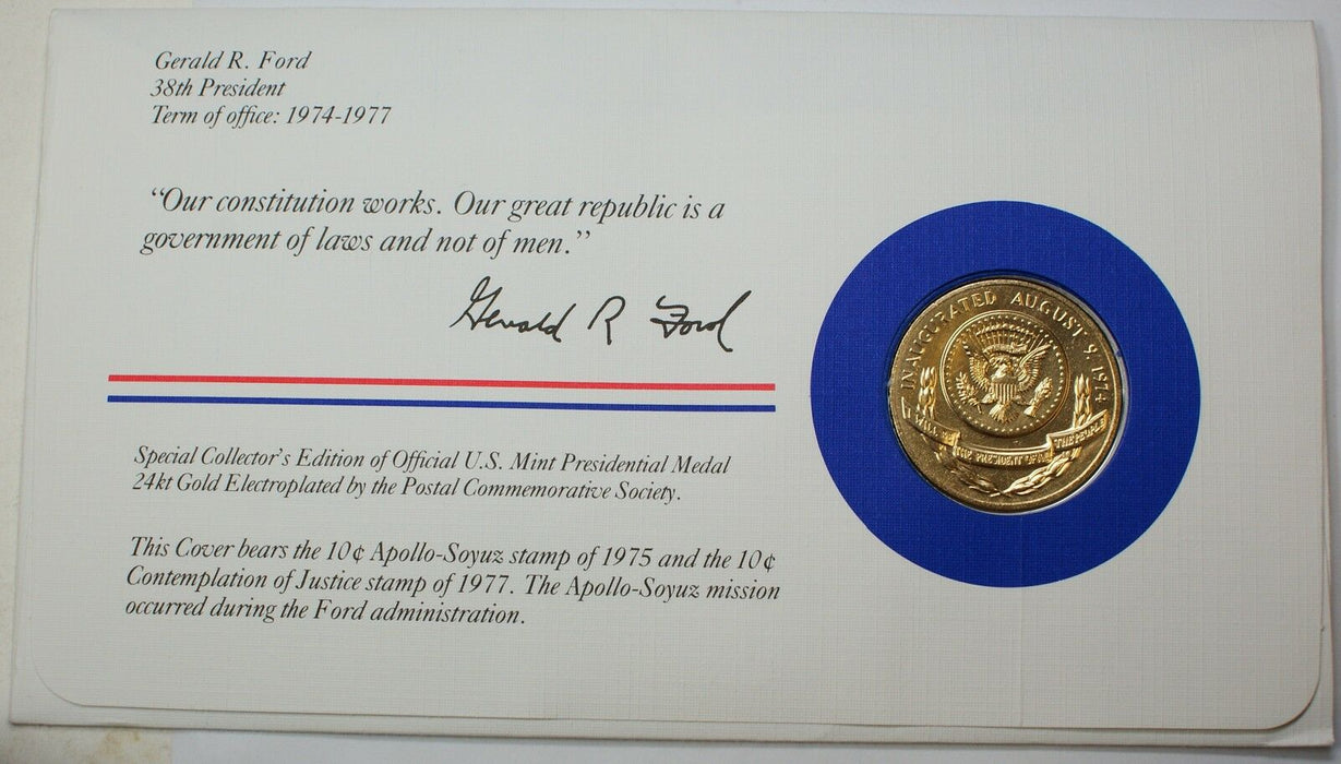 Gerald R. Ford Presidential Medal, 24kt Gold Electroplated