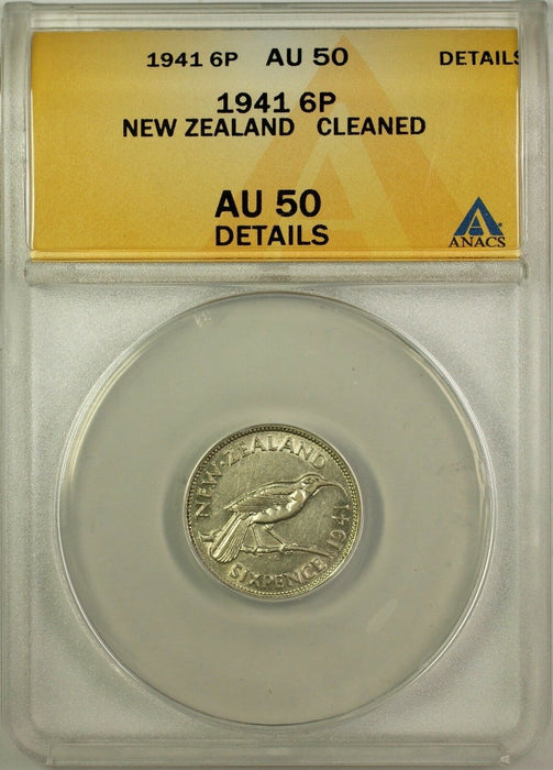1941 New Zealand 6 Pence Coin ANACS AU 50 Details Cleaned