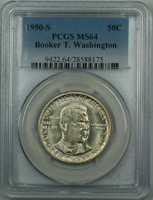 1950-S Booker T. Washington Silver Half Dollar Coin PCGS MS-64 (Better Coin) DGH