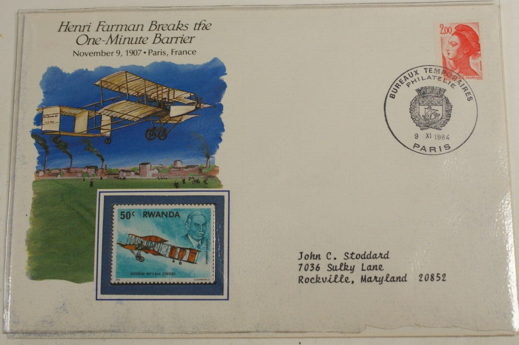 First Day Stamp Cover-Henri Farman Breaks the One-Minute Barrier-Sealed Envelope
