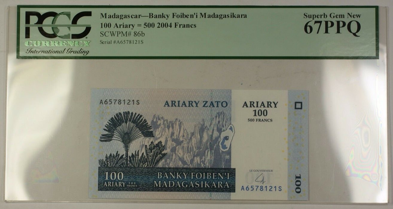 2004 Madagascar 100 Ariary 500 Francs Note SCWPM# 86b PCGS Superb GEM New 67 PPQ