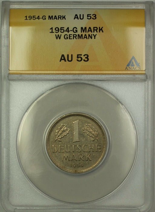 1954-G West Germany 1M One Mark Coin ANACS AU-53